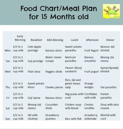 15 (12-18) months Food Chart / Meal Plan/ Food Chart for Toddlers
