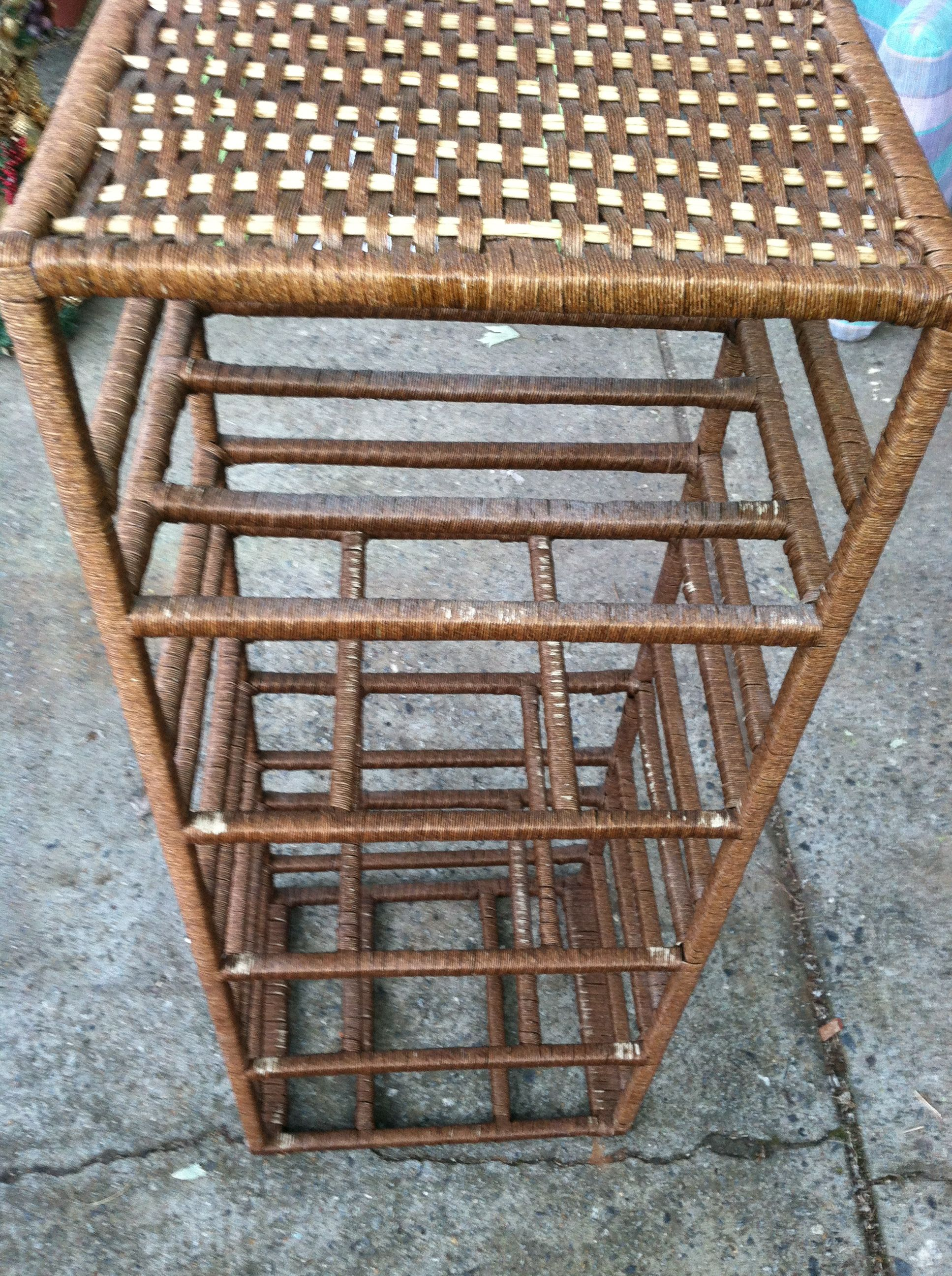 Web Photo Gallery This wicker bathroom shelf stands Tall X Wide X Deep