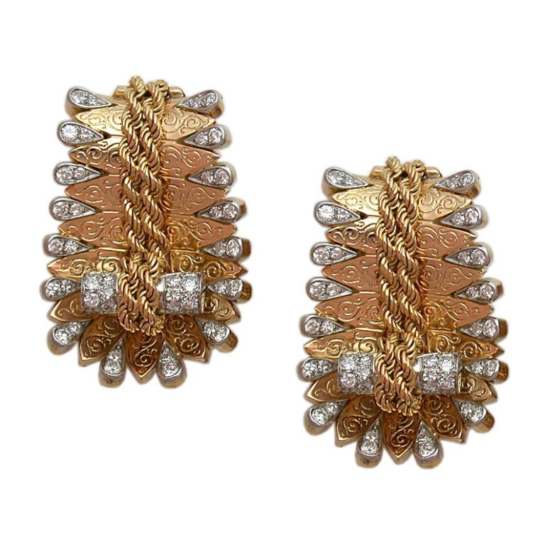 Gold & Diamond Dress Clips, by Van Cleef & Arpels