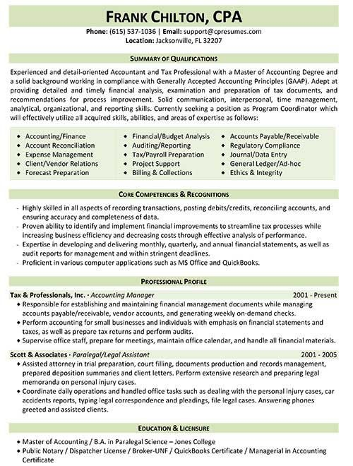 Tax Professional Resume Sample Work Pinterest Resume format - skills and abilities on resume