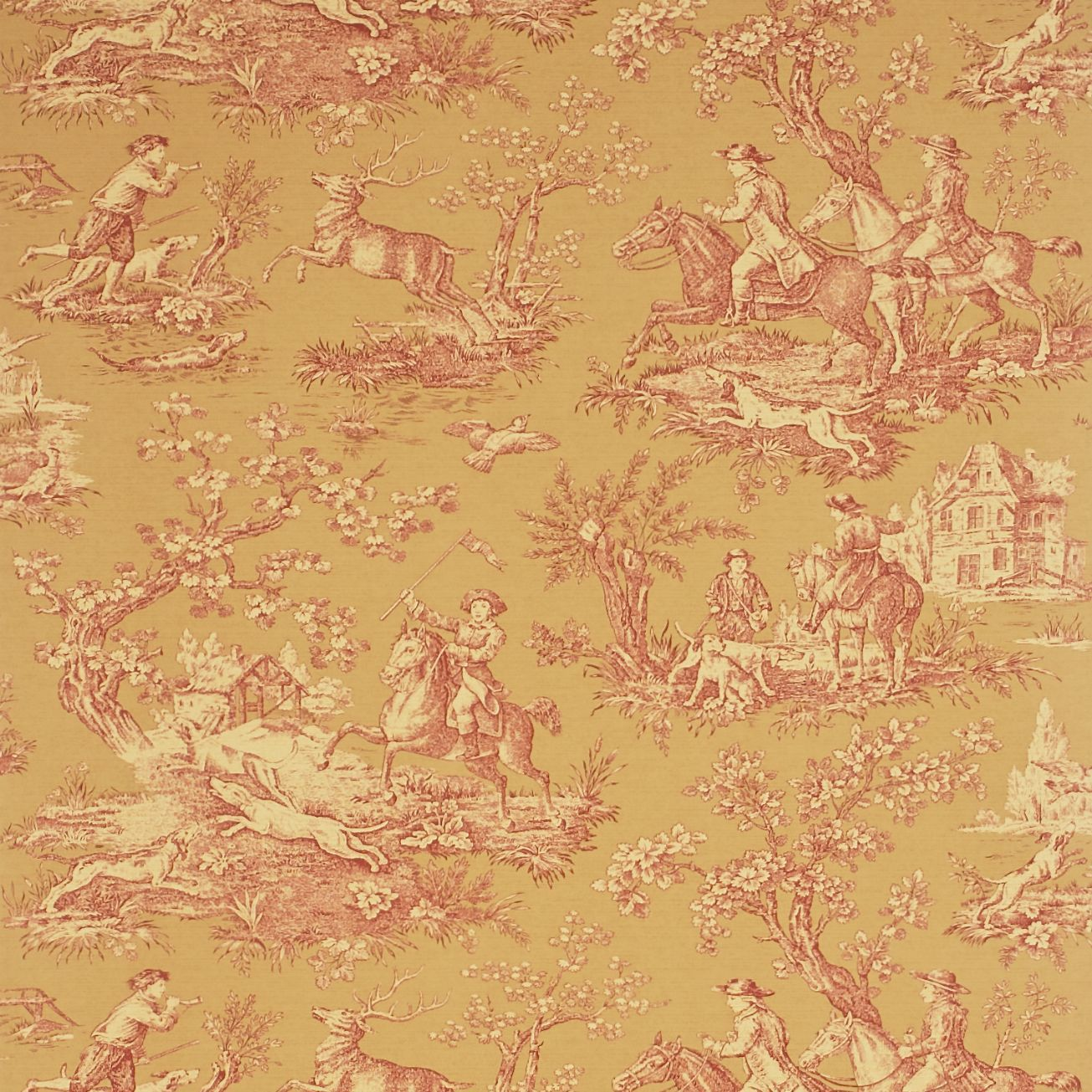 Stag Hunting toile wallpaper by Sanderson Toile