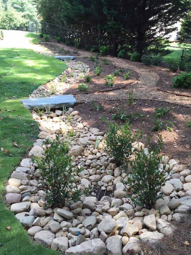 Photo Of Shm Landscape Atlanta Ga United States 2 X4 Stone Bridge Plantings Sod River Rock Dry Creek Bed Mulch Walking Path With Metal Edging