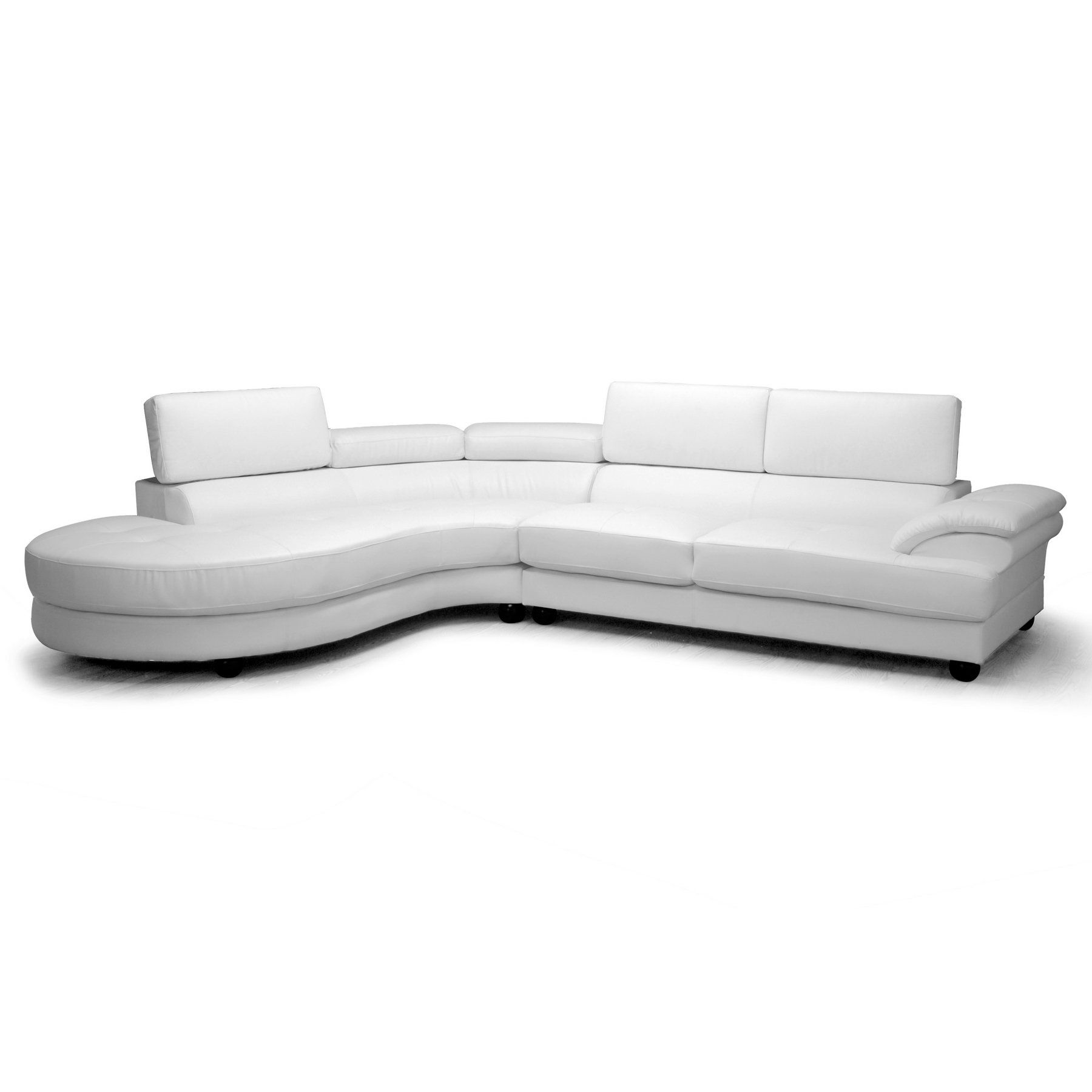 Adelaide White Leather Modern Sectional Sofa by Baxton Studio