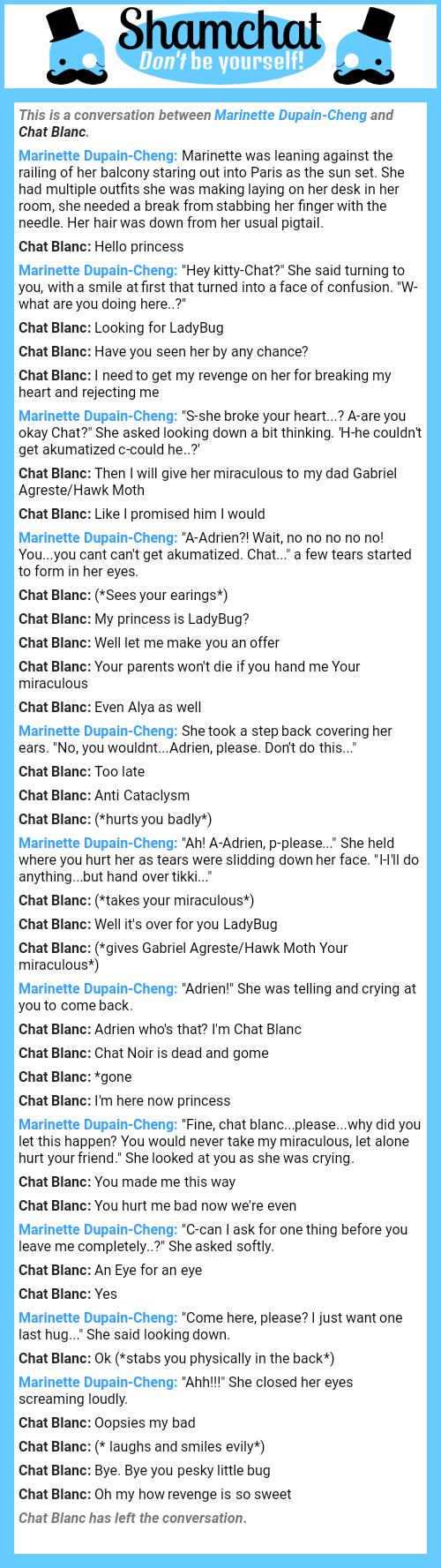 A conversation between Chat Blanc and Marinette Dupain-Cheng ...