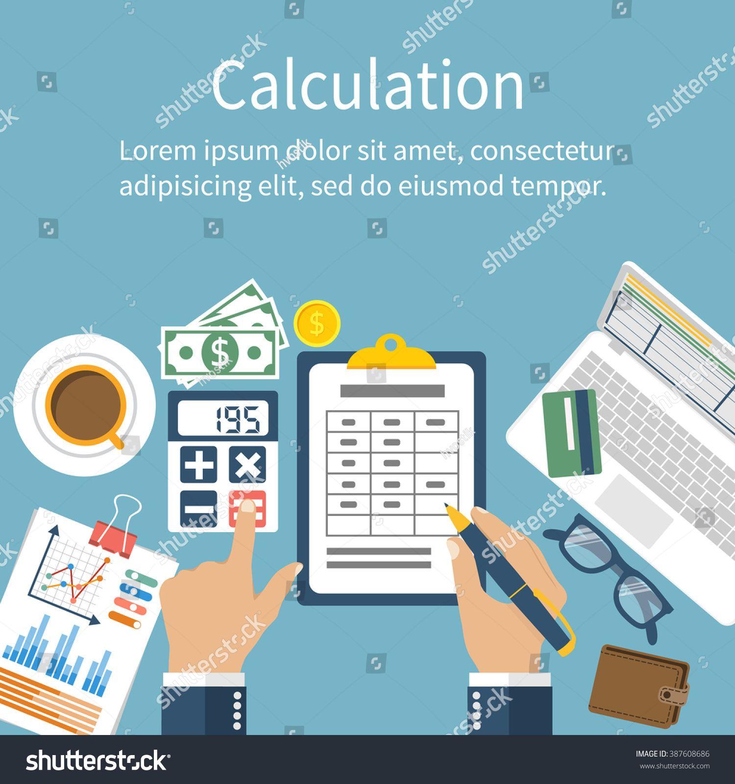 Calculation concept businessman accountant flat design