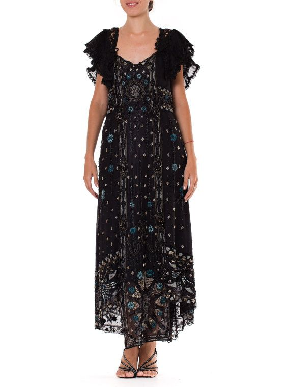 Fantastic Rebuilt Edwardian Beaded and Embroidered gown    Size: XS-M