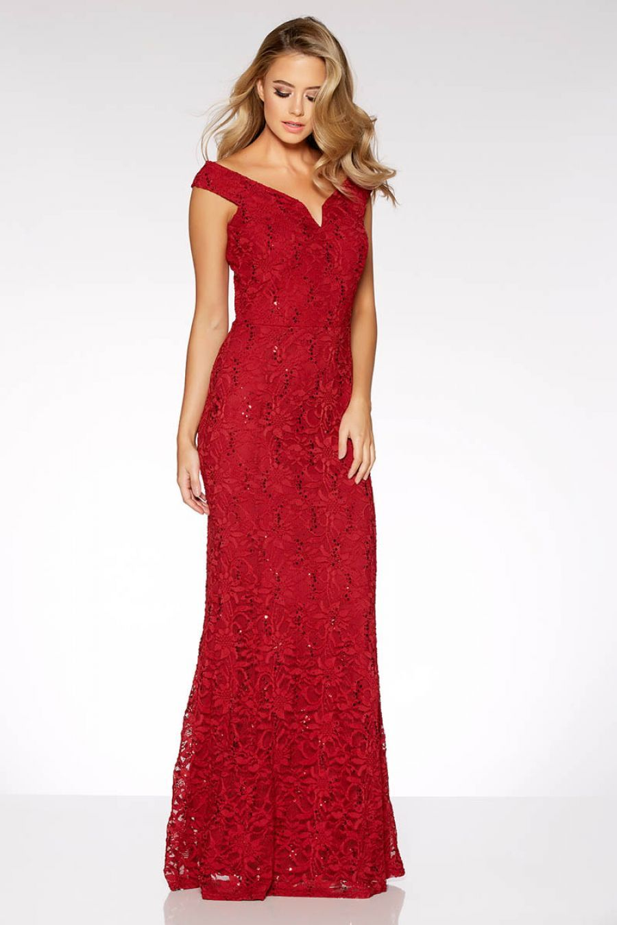 6eed7e57e83c Berry Lace Sequin Bardot Maxi Dress - Quiz Clothing | Gowns ...