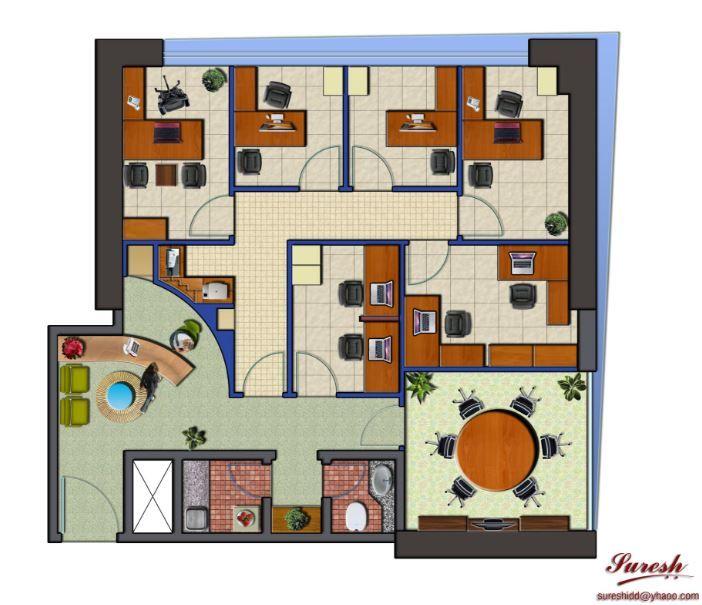 Planos de oficinas administrativas peque as architecture for Planos de oficinas