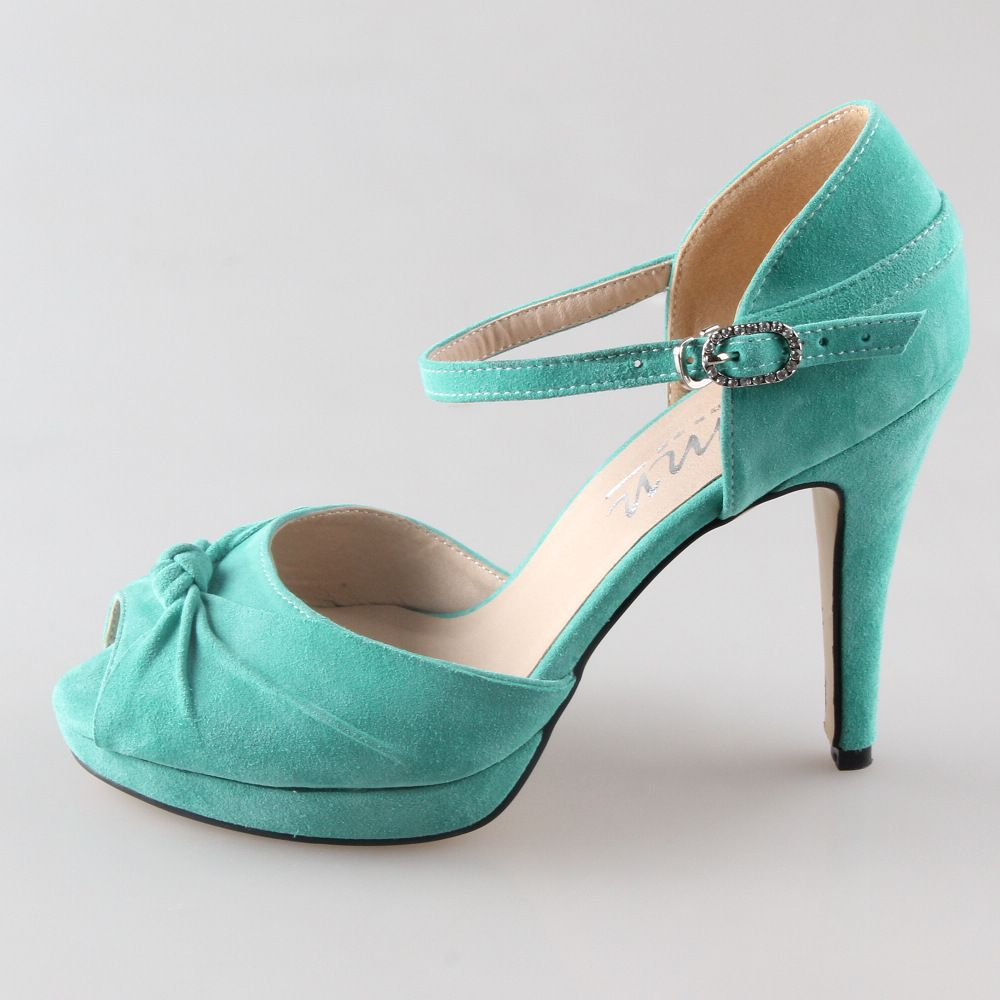 Find More Women S Pumps Information About Handmade Light Mint Green Suede Leather Heel Wedding Shoes Knot