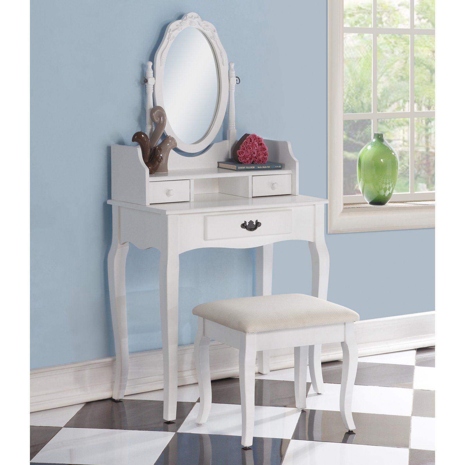 Roundhill Furniture Ribbon Wooden Bedroom Vanity and Stool ...