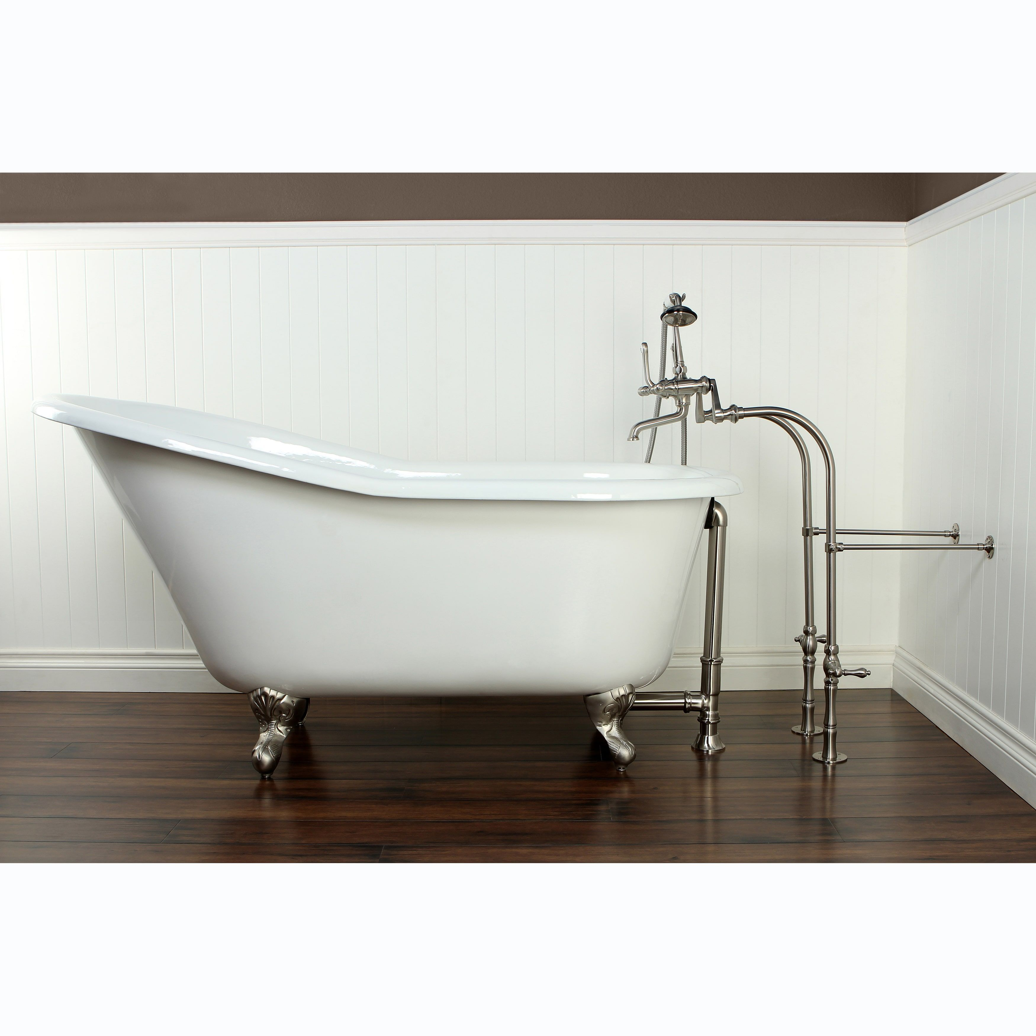 Kingston brass slipper cast iron inch clawfoot bathtub chrome