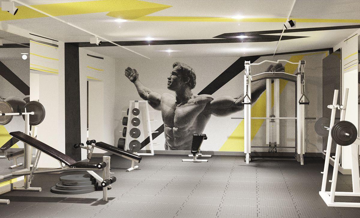 "Interior Design Ideas For Home Gym: Fitness-club ""Titan Gym"" Interior Design And 3D On Behance"