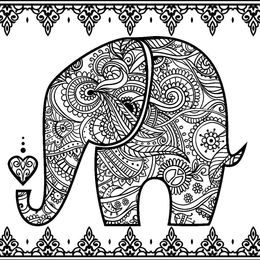 Elephant Zendoodle Colouring Page Coloring Book For Me App Elephant Coloring Page Tribal Elephant Drawing Cute Elephant Drawing