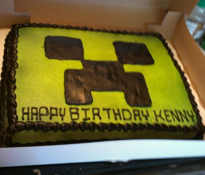 Kennys Minecraft Cake Made By Wal Mart
