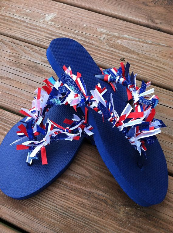 Red, white and blue 4th of July Ribbon Flip Flops
