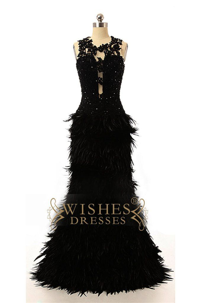 24914794369c0 2017 Black Feather Prom Dress  Formal Dresses AM573
