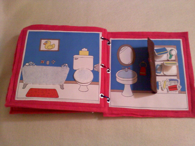 Pink Portable Dollhouse Felt Quiet Book
