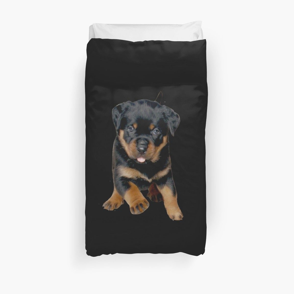 Cute Rottweiler Puppy Running Duvet Cover By Taiche Rottweiler
