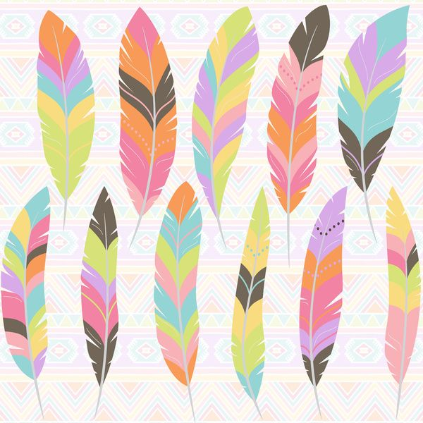 Feathers in Pastel Colors / Dream Catchers Print Art Print by MY HOME | Society6
