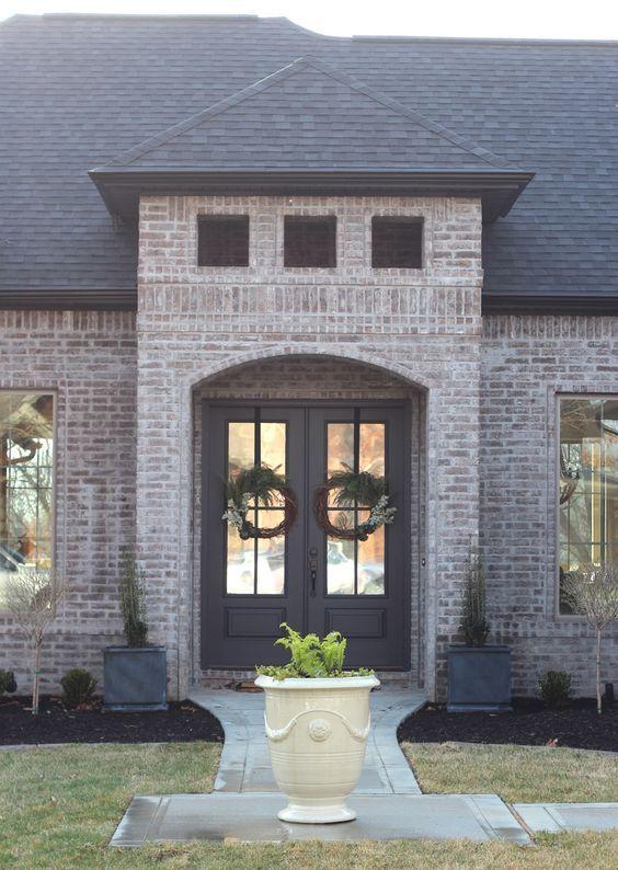 Remodelaholic Color Spotlight Benjamin Moore Wrought Iron Exterior Brick House Exterior Shutters Exterior