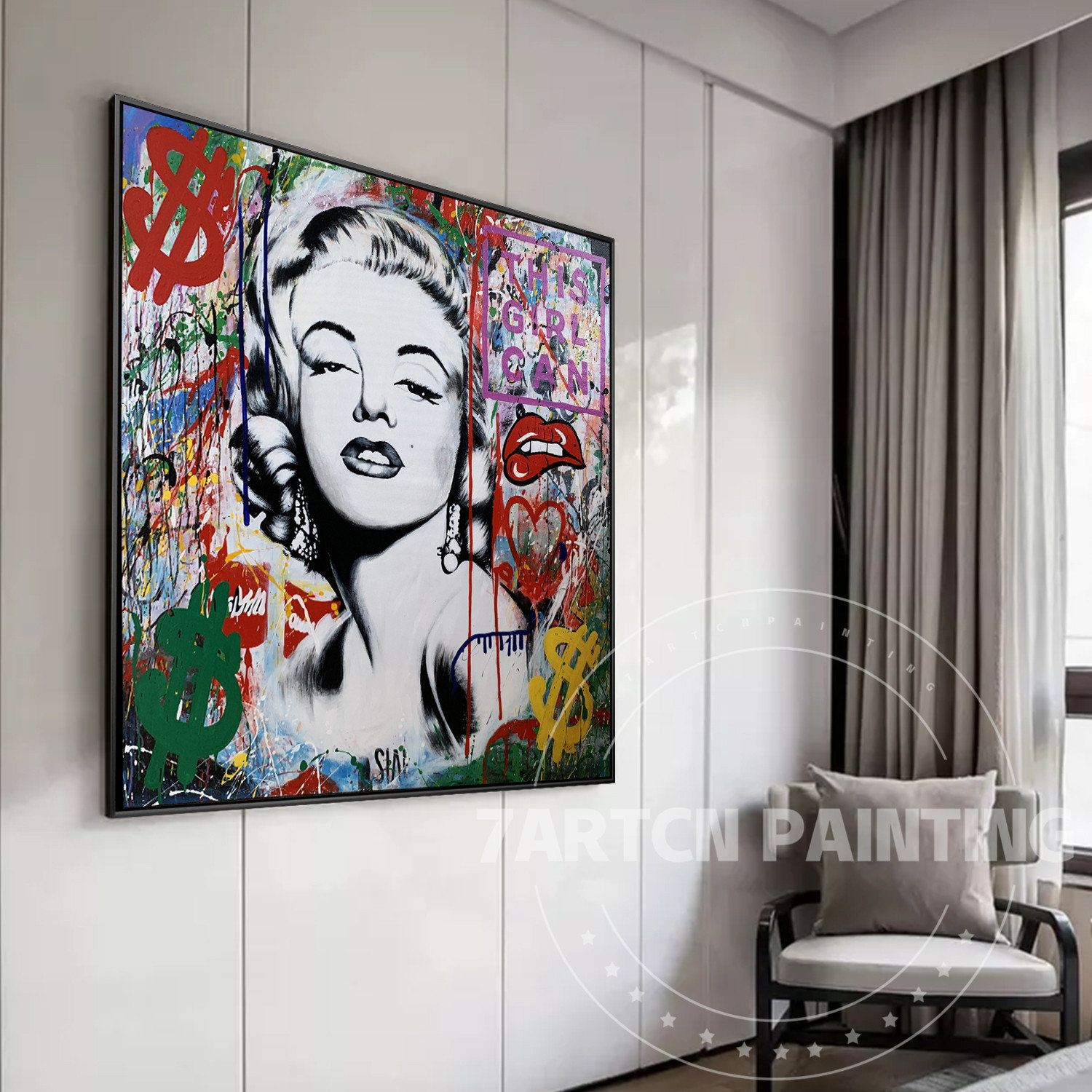 Marilyn Monroe Original Pop Art Canvas Painting Framed Wall Etsy Pop Art Canvas Wall Art Pictures Canvas Art Painting