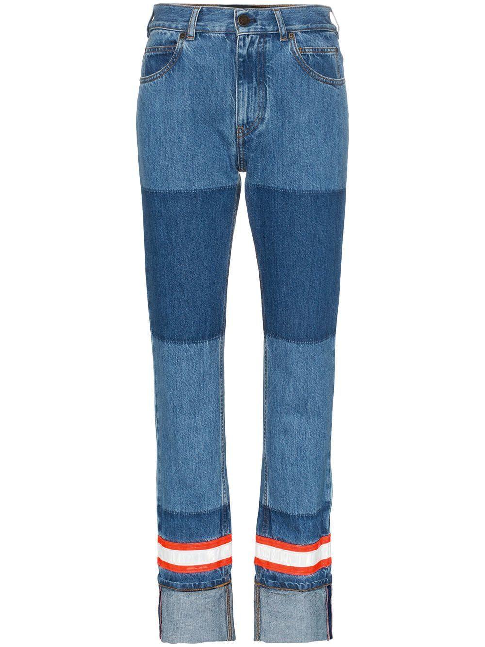 7939e025ec7646 Calvin Klein 205W39nyc fire tape applique straight jeans - Blue in ...