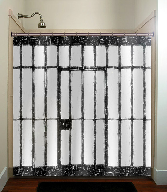 Scary funny prison cell jail shower curtain, extra long fabric ...