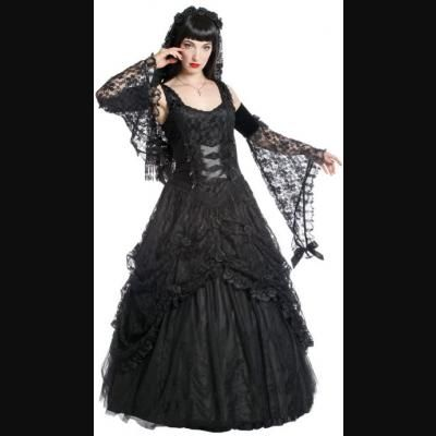 Holly Black Lace Satin Gothic Prom Dress By Sinister Dresses