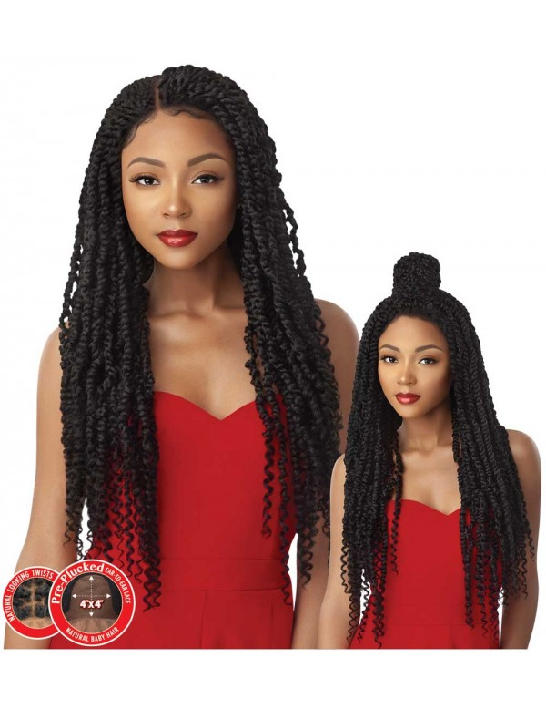 Outre X-pression Twisted Up Pre-plucked 4x4 Swiss Braid Lace Front Wig Passion Twist 28 - Elevate Styles