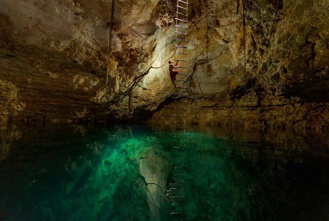 Swimming in a under ground cave! Ooh my!