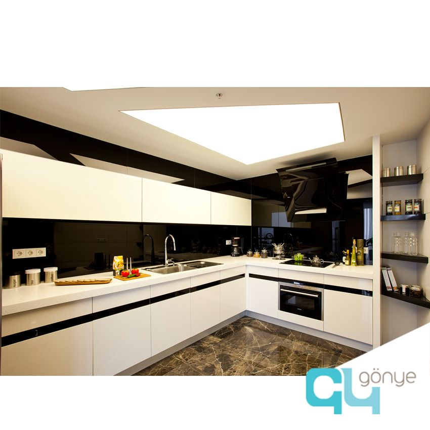 kitchen design in black and white marble foor barrisol ceiling design by gonye