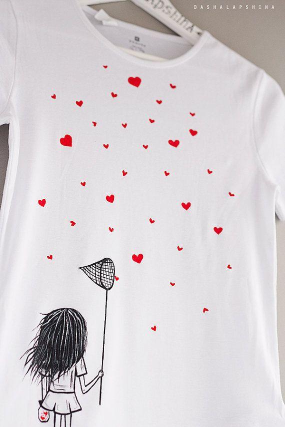Pintadas a mano camisetas de mujer con una ni a por - Pintura para camisetas ...
