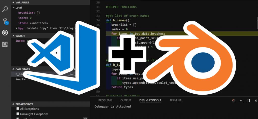 Blender Debugger for VS Code Coding, Blender 3d