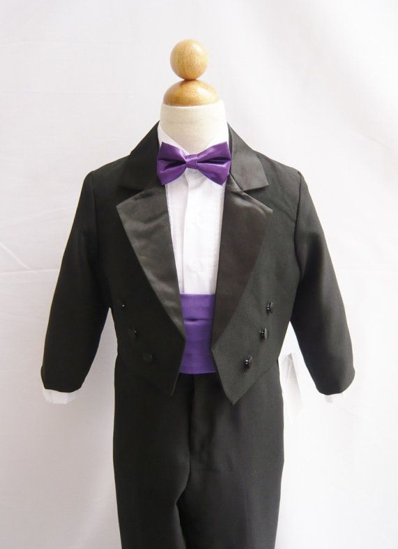 Formal Boy Tuxedo Black with Purple Eggplant Bow Tie by carmiashop ...