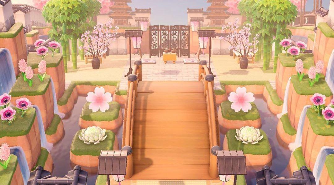 New Horizons Island Designs On Instagram Cherry Blossom Entrance Credits To U Gardenia89 On Animal Crossing Animal Crossing Game Animal Crossing Qr