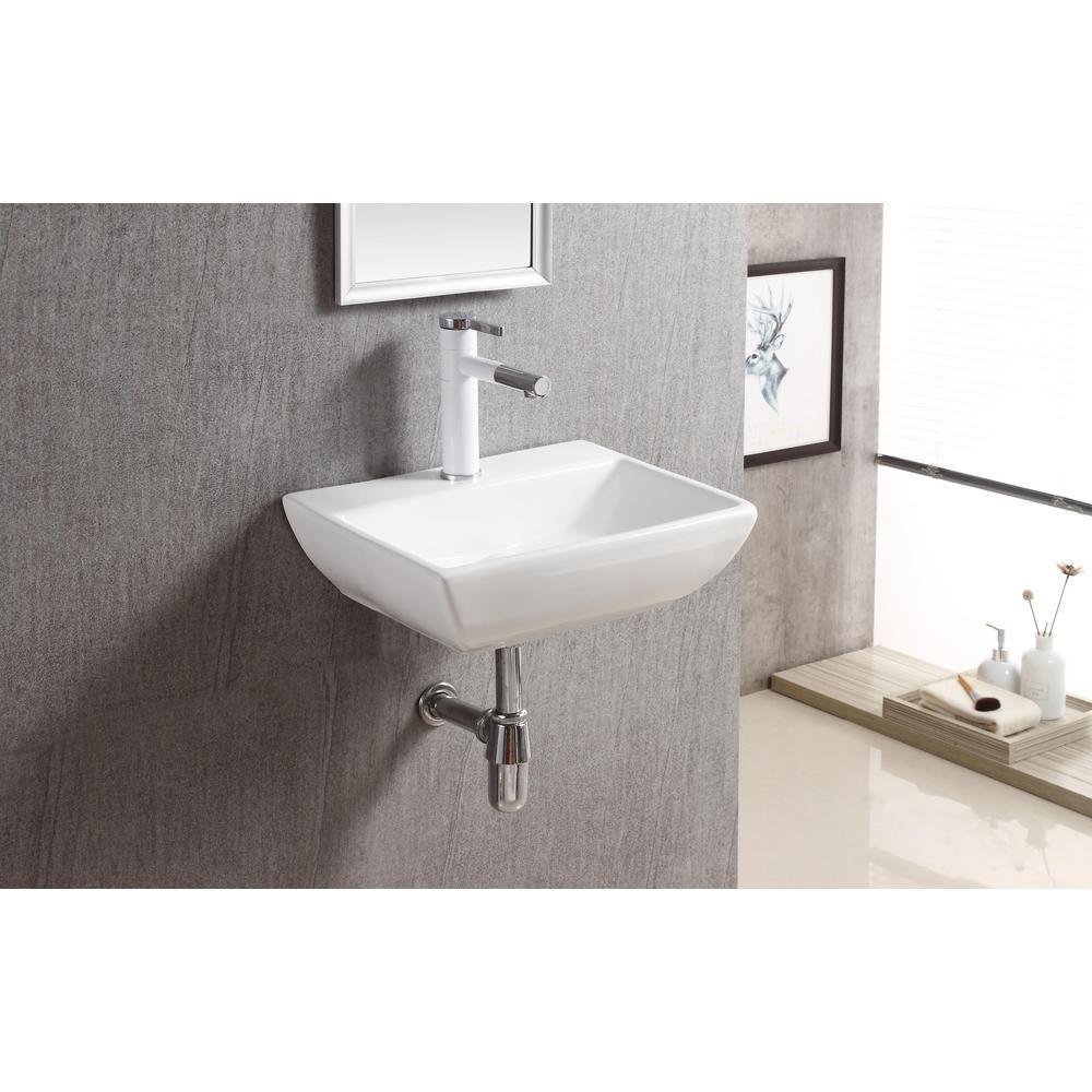 Elanti Wall Mounted Rectangular Compact Bathroom Sink In White 1409 The Home Depot In 2021 Rectangular Sink Bathroom Small Bathroom Sinks Compact Bathroom [ 1000 x 1000 Pixel ]