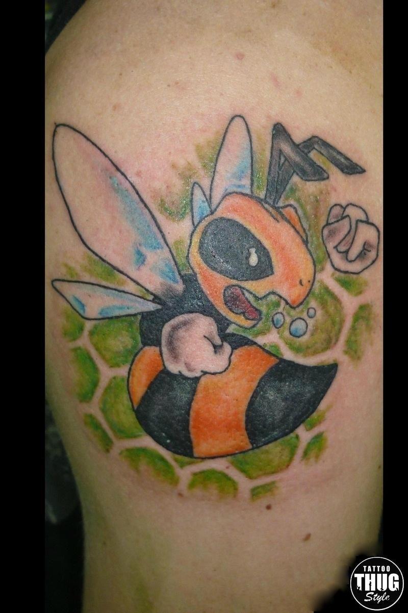 Bee Colour Cartoon Tattoo   Tattoo Share