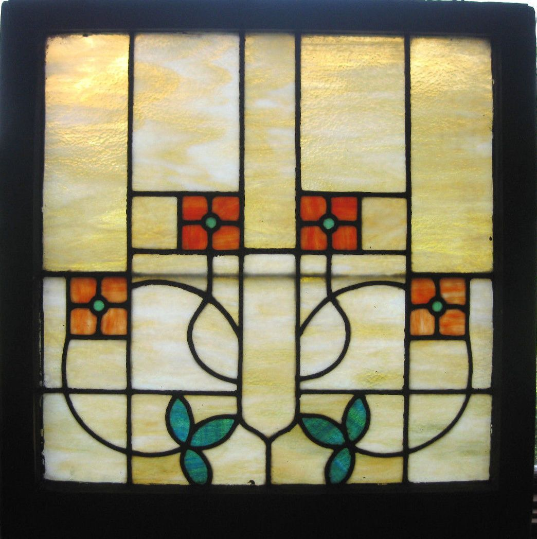 Arts And Crafts Style Windows - 1910 bungalow stained glass window