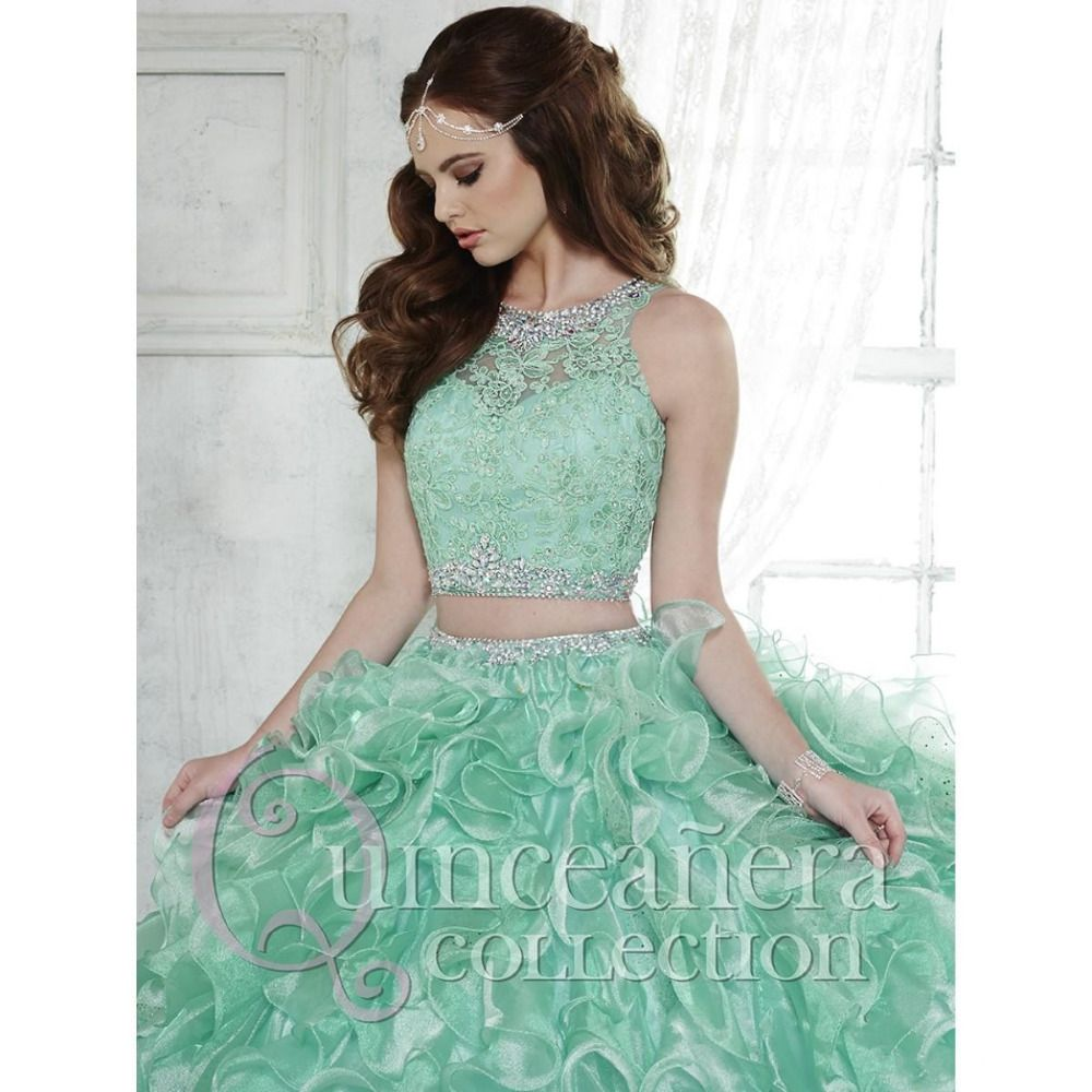 2016 Two Pieces Quinceanera Dresses Mint Green Organza Ruffle Skirt ...