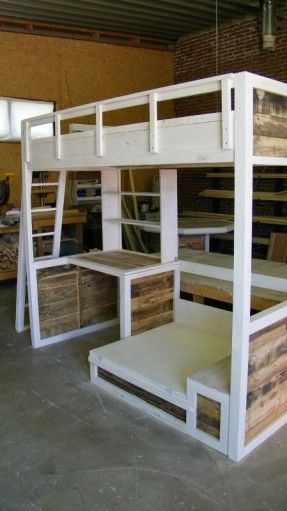 Bunkbed with desk and fold out extra bed! Just add 2 square lounge pillow on