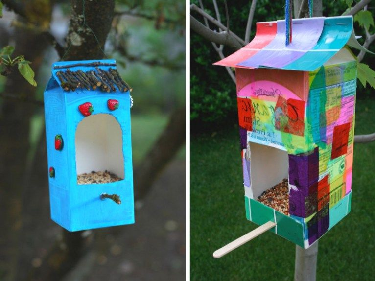 fabriquer une mangeoire pour les oiseaux du jardin brique de lait mangeoire et briques. Black Bedroom Furniture Sets. Home Design Ideas