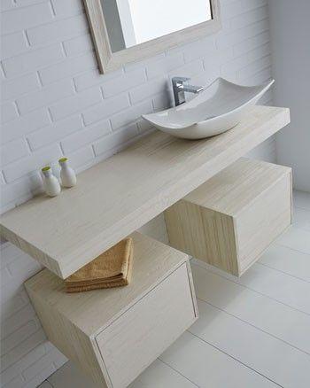 Encimera de ba o para lavabo sobre encimera con soportes - Banos con encimera ...