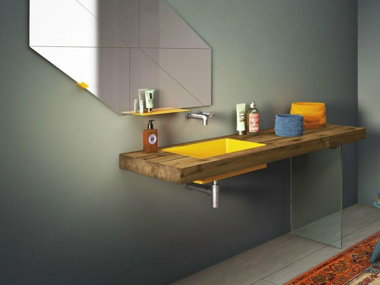 lavabo salle de bain STEEL- vasque jaune, plan en bois et ...