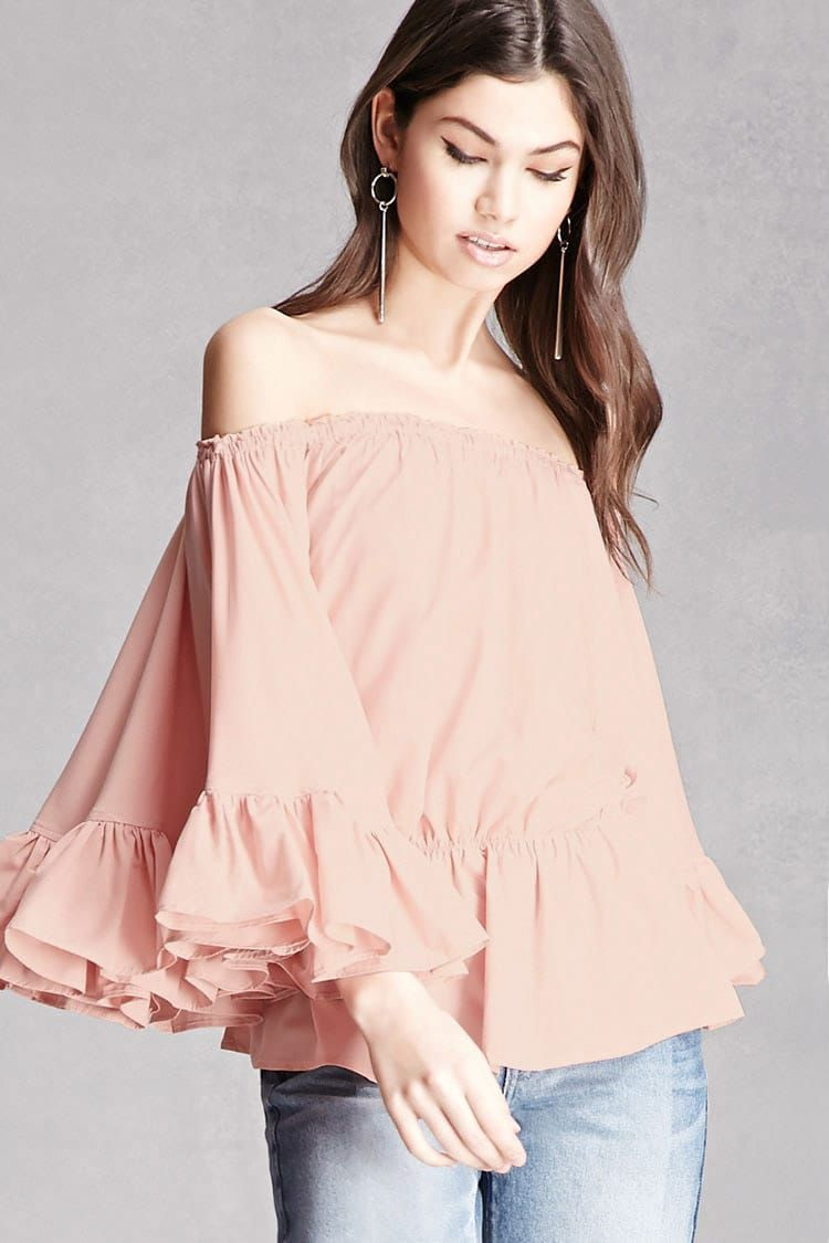f6e374c95be474 Off-the-Shoulder Ruffle Top   Style Inspiration   Ruffle top, Tops ...