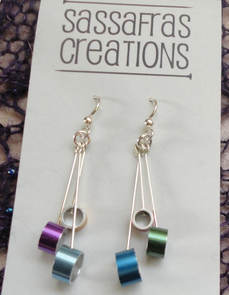 Review of Sassafras Creations jewelry and earrings giveaway! Made from recycled knitting needles - so cool. #SweaterBabe.com #knitting