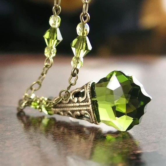 Olive Green Necklace Antique Gold Brass Swarovski by DorotaJewelry, $32.00