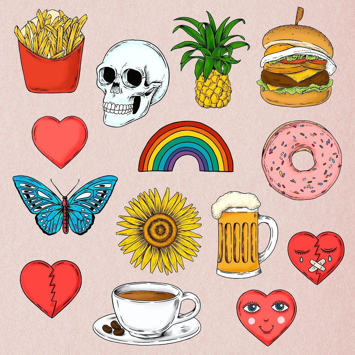 Download Premium Illustration Of Colorful Drawing Icon Set Design Icon Set Design Colorful Drawings Sticker Set