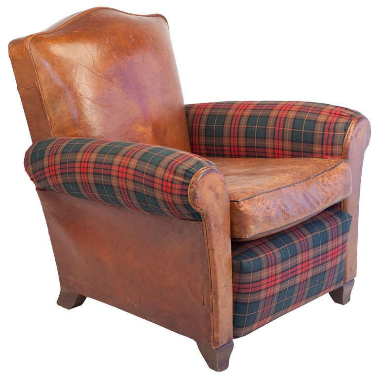 Small Scale Club Chair In Leather And Tartan Plaid