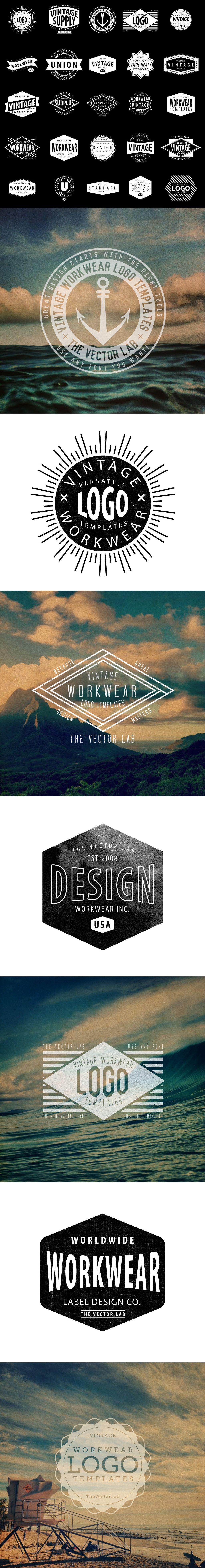 Logo Templates: Vintage Workwear | Logo templates, Adobe ...