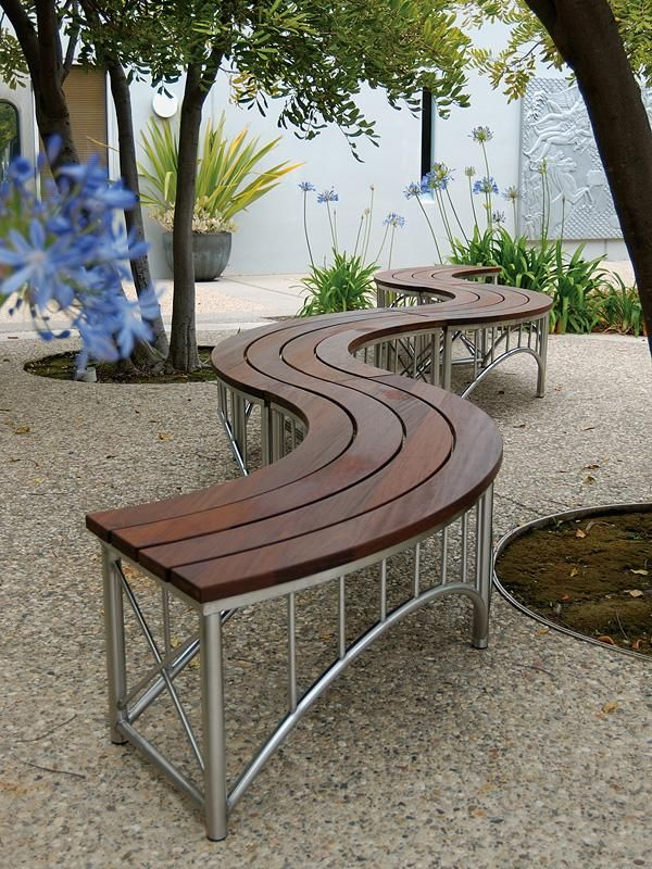 stainless steel benches. Bridge Benches Shown In Curved Configuration With Satin Stainless Steel Frames And FSC® 100% Ipé Hardwood Slats